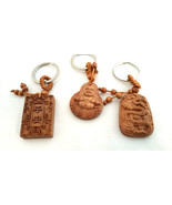 Set of 3 NEW  Bamboo Good Luck Key chains Buddha, Dragon, and Holy Book - $12.38