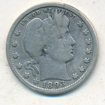 1893-O BARBER SILVER QUARTER-SEMI KEY-NICE CIRCULATED QUARTER-SHIPS FREE! - $16.95