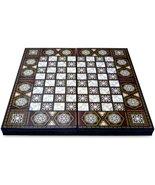 Large Wooden Backgammon Board Game Set Turkish Oriental Mosaic Authentic... - $114.83