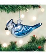 OLD WORLD CHRISTMAS BRIGHT BLUE JAY BIRD GLASS CHRISTMAS ORNAMENT 16121 - $12.88