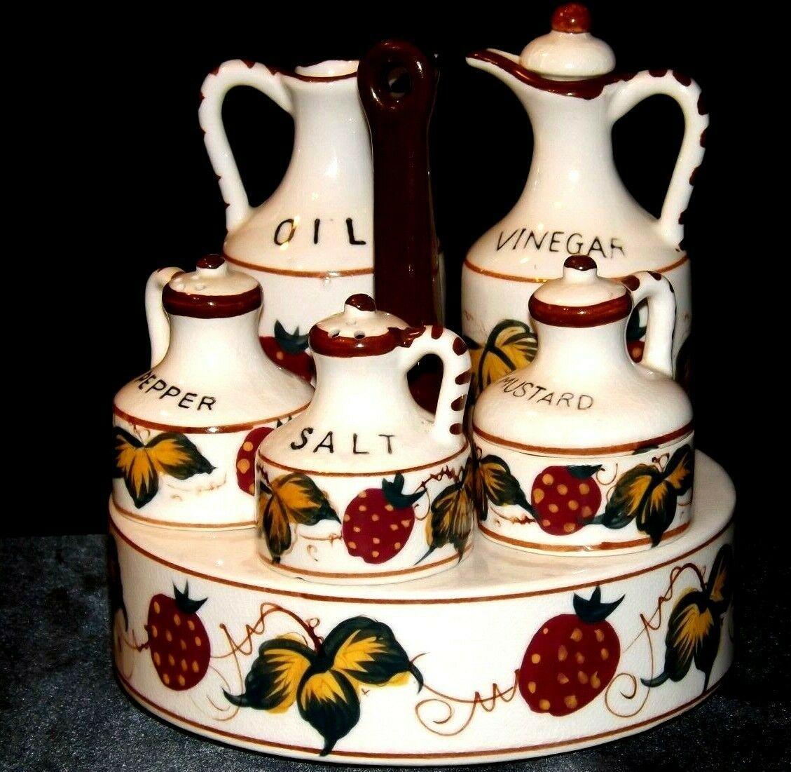 Ceramic Oil, Vinegar, Mustard, Salt, and Pepper on a Caddie AA19-1640 Vintage