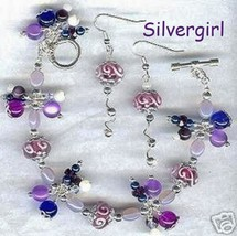Purple Passion Charm Bracelet and Earring Set - $29.99
