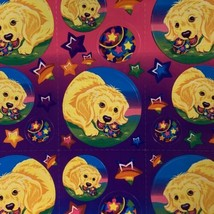 Lisa Frank Complete Sticker Sheet S209Casey Rainbow Star Tennis Balls Rare image 2