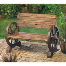 Western Wagon Wheel Bench Patio, Garden Furniture Decor - $158.06