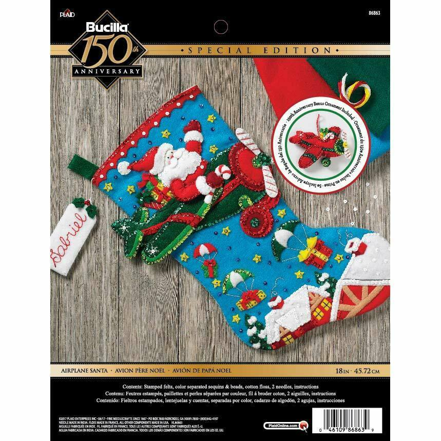 Primary image for Bucilla 'Airplane Santa' Stocking Embroidery Applique  Kit-86863