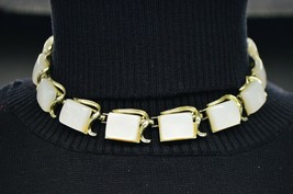 CORO White Opalescent Moonglow Moon Glow Gold Tone Choker Necklace Vintage - $24.74