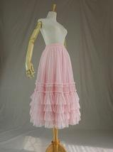Pink Tiered Tulle Midi Skirt Pink Princess Tulle Tutu Midi Skirt Outfit Wedding  image 4