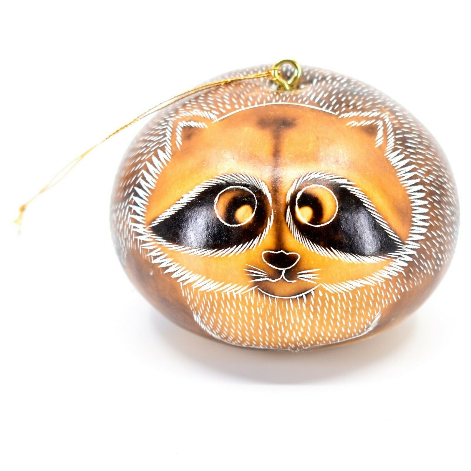 Handcrafted Carved Gourd Art Raccoon Animal Ornament Made in Peru