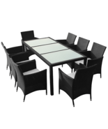 Luxury Garden Dining Table Set 8 Seats Cushions Chairs Glass Top Table R... - $683.51