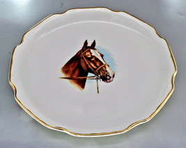 VINTAGE EQUESTRIAN THOROUGHBRED HORSE COLT CABINET PLATE 22KT GOLD HOME ... - $129.00