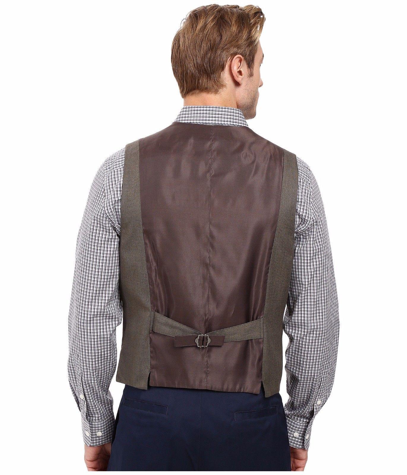Perry Ellis - Regular Fit Pattern Twill Suit Vest (Chinchilla) Men's Vest $70 image 3