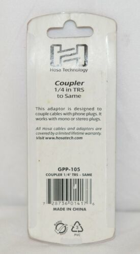 Hosa Technology GPP105 Coupler Quarter Inch TRS To Same