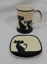 Hues N Brews Cattitude Black Cat Tea Coffee Mug and Saucer - $12.46