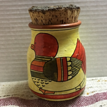Vintage Hand Painted Duck/Floral Design Corked Tea Canister Made in Portugul - $13.00