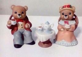 "Home Interior Homco Collective Porcelain Bears,""Tea Time Bears"", Set Of 3 - $17.82"