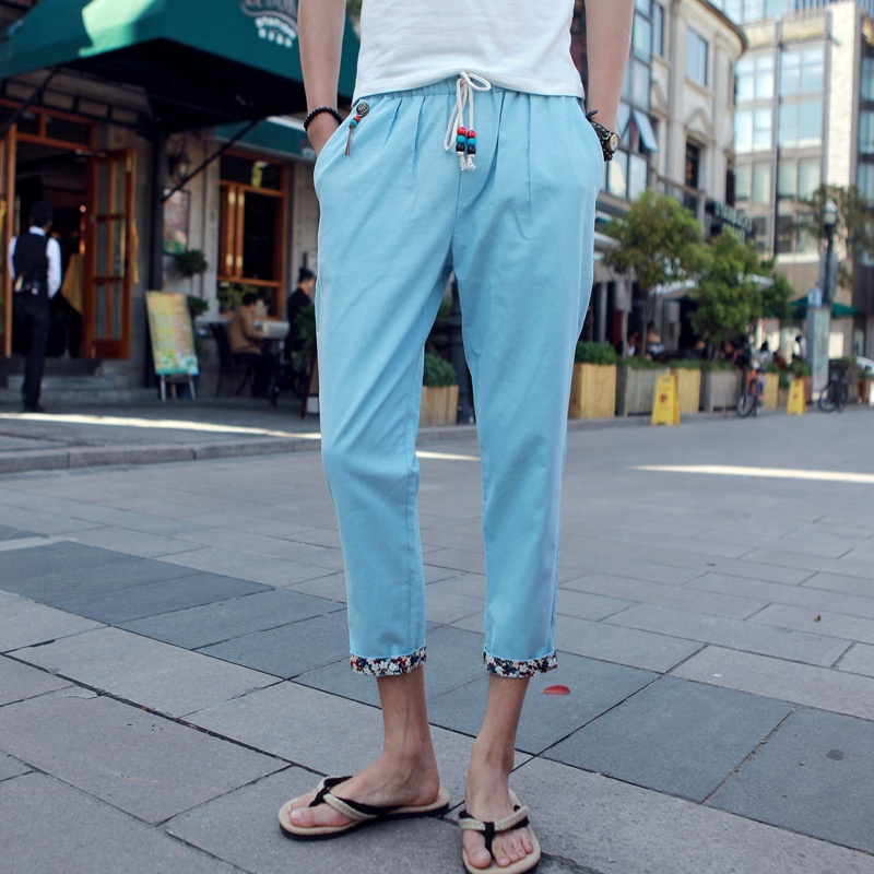 Men Casual Solid Color Nine Minutes Pants Thin Loose Pants image 3