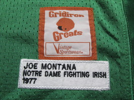 JOE MONTANA / AUTOGRAPHED NOTRE DAME GREEN & GOLD THROWBACK JERSEY / PLAYER HOLO image 6