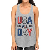 USA All Day Cute Womens Cotton Tank Top Racerback Fourth of July - $14.99