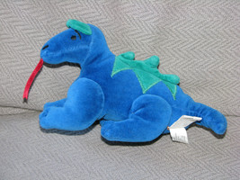 "MANHATTAN TOY STUFFED PLUSH BEAN BAG VELOUR DRAGON 1997 BLUE GREEN 8"" - $30.09"