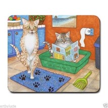 Mousepad Mouse Pad Computer Mat funny bathroom art Cat 538 by L.Dumas - $15.99