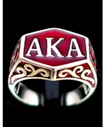 Sterling silver initial ring AKA Also Known As pseudonym with Red enamel... - $99.00