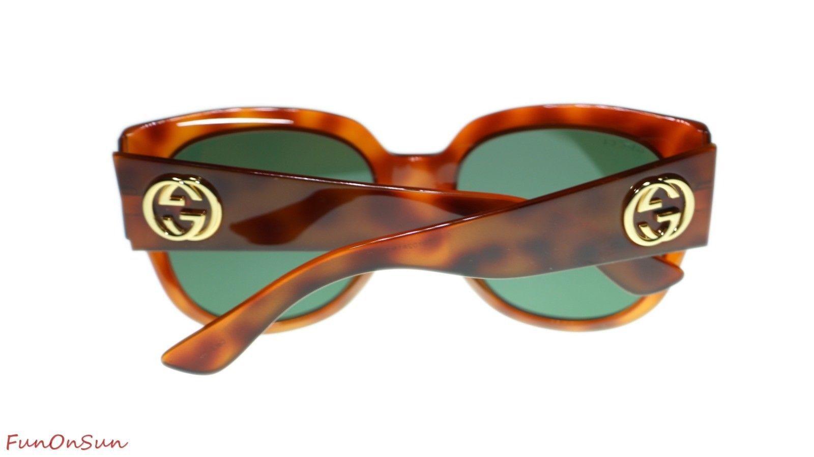 a4e888efed Gucci Women s Sunglasses GG0142SA 002 Havana Green Lens Square 55mm