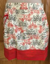 Half Apron Vintage White Cotton Print Red Fire Wagon Engine Pocket Tied ... - $9.85
