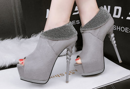 pp462 elegant spell color pumps w twisted heels, US Size 4-8.5, light gray - $52.80