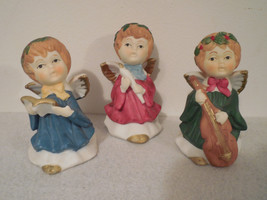 3 ceramic angels, angel decor, Christmas Angels, angel ceramic vintage C... - $15.00