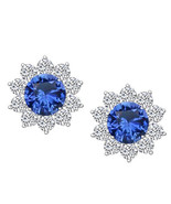 1.50 CT Round Blue Sapphire & White CZ Halo Stud Earrings 14K White Gold... - $54.44
