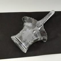 """Duncan Miller Glass Basket Crystal Etched Flower 8"""" Bride Basket circa 1930s   image 1"""