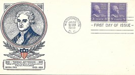 First Day Cover - Scott#842 3c Thomas Jefferson WSE/Clifford Cachet - $3.47