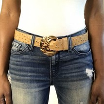 Womens Ostrich Leather Belt Beige with Large Gold Buckle Size Medium Large - $27.72