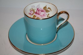 Aynsley England Turquoise Demitasse Teacup and Saucer - $14.93