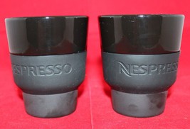Nespresso Porcelain Coffee Touch Mugs Cups Black Geckeier Michels Set of 2 - $34.76