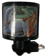 ART PLATES NIGHT LIGHT UNICORN FAIRY FLUTE DECORATIVE 360 SWIVEL PLUG IN NWOP - £8.38 GBP