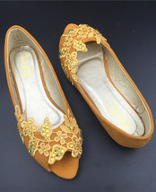 bridal peep toe flats shoes,brown open toed lace wedding shoes,gold brid... - $38.00