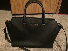 MICHAEL KORS Black Saffiano Leather Selma Medium Top Zip Satchel Bag - $79.48