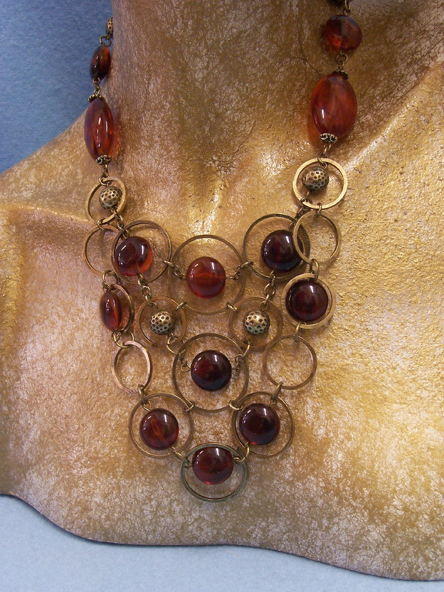 Set of  Necklace & Pierced Earrings Funky Goldtone & Amber Round & Oval Stones