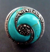 """925 Sterling Silver Turquoise & Marcasites """"Hurricane Eye"""" Ring Size 6 ... - $36.95"""