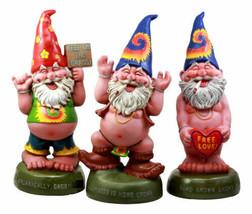 "Free Spirited Pot Smoking Hippie Gnome Statue Set 13.5""H Carefree Garden... - $99.99"