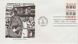 1982 20c America's Libraries Issue FDC # 2015 Cachet - $1.44