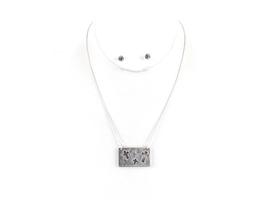 Silvertone Do Not Be Afraid Cutout Cross Two Tone Necklace & Earring Set - $14.95