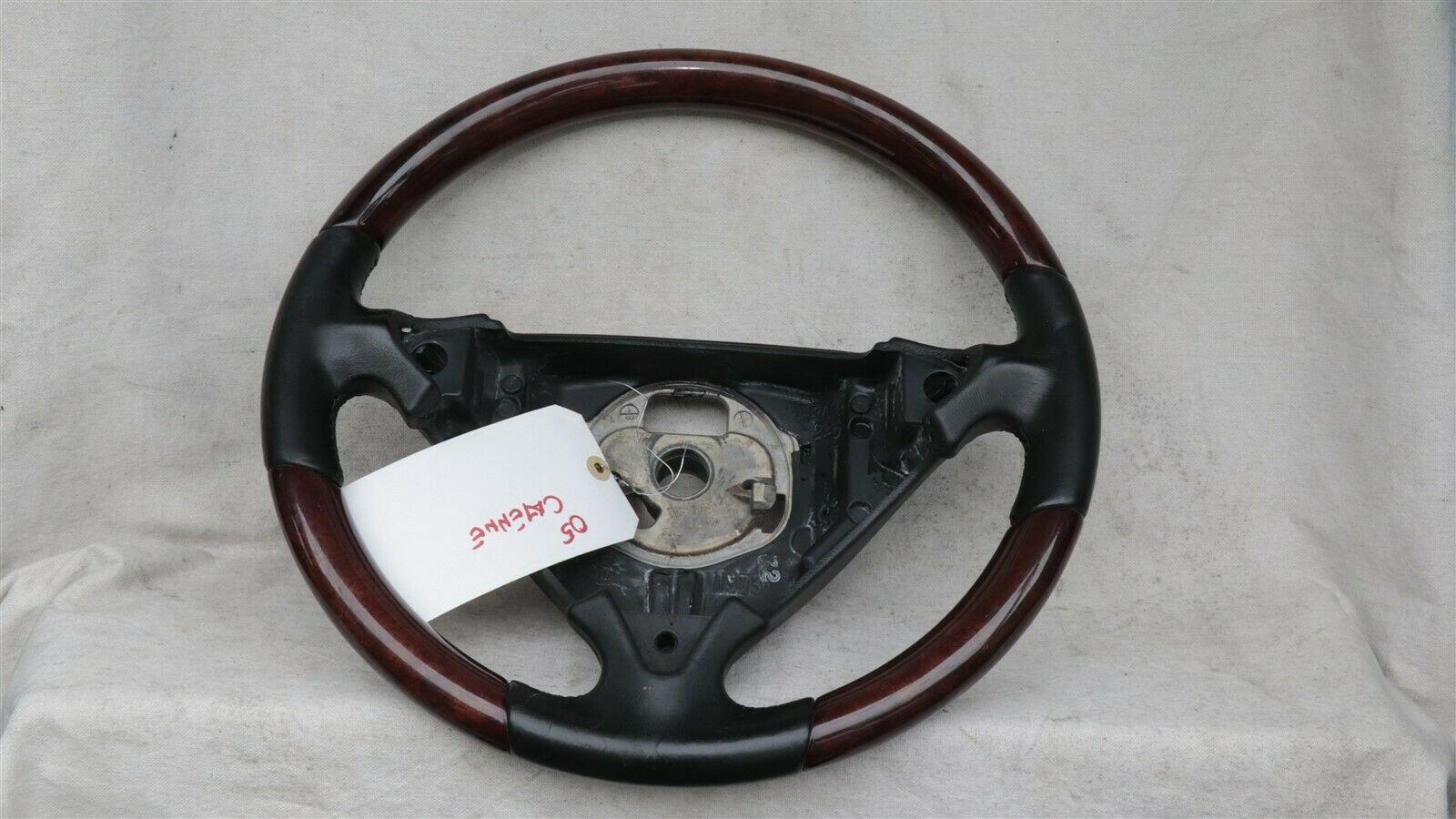 03-06 Porsche Cayenne 955 Wood/ Blk Leather 3 Spoke Steering Wheel 7L5419091