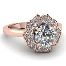 Flower Style Round Cut CZ Rose Gold Plated Sterling Silver Women's Wedding Ring - $82.99