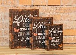 """""""Dream Big & Dare to Fail"""" Decorative Book Boxes Diversion Safe Set of 3 - $24.74"""