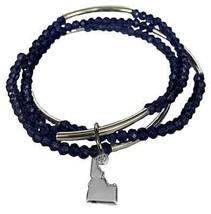 Idaho State Navy Blue Glass Beaded Muli-line Stretch Bracelet Jewelry Gift - $14.84