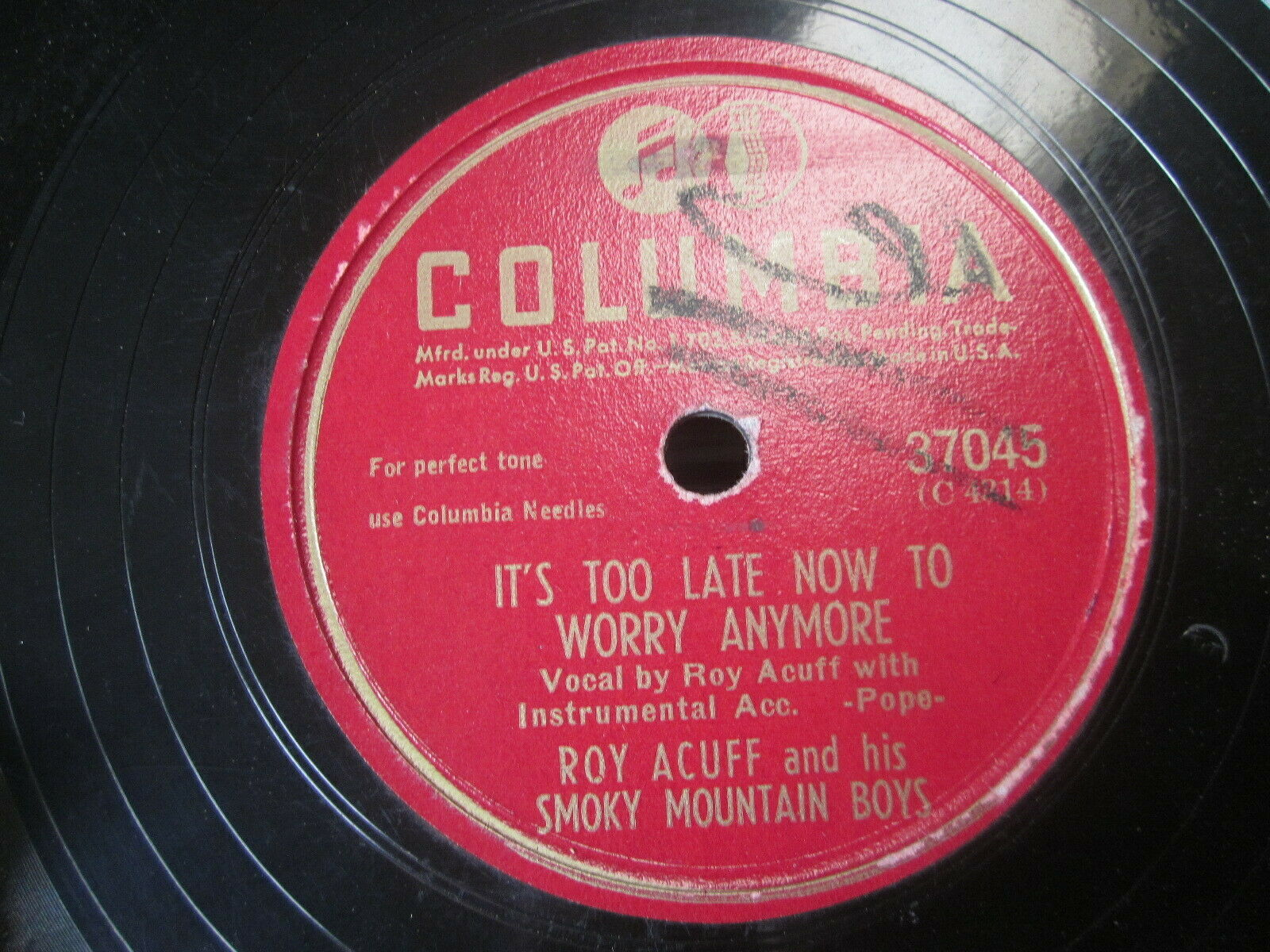 "Primary image for 10"" 78 rpm RECORD COLUMBIA 37045 RAY ACUFF & SMOKY MOUNTAINS WAIT FOR THE LIGHT"