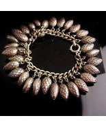 "Vintage Chunky NAPIER Charm Bracelet - 8"" Vintage pinecone pineapple cha... - $245.00"
