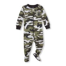 NWT The Childrens Place Boys Green Camouflage Footed Stretchie Pajamas Sleeper - $8.99